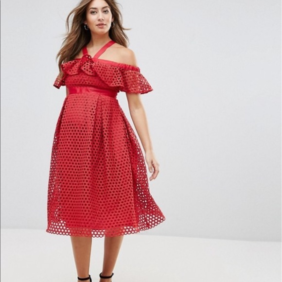 bb557c0726 ASOS Maternity Red Lace Cold Shoulder Dress